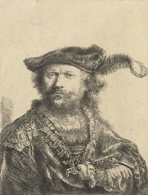 Self Art Print featuring the drawing Self Portrait In A Velvet Cap With Plume by Rembrandt