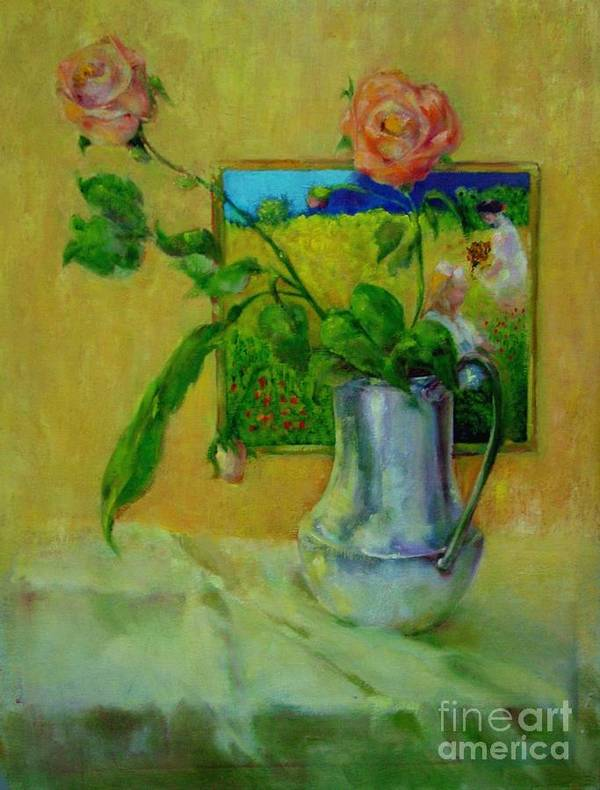 Floral Art Print featuring the painting Silver And Roses   Copyrighted by Kathleen Hoekstra