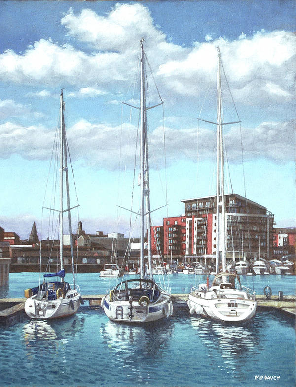 Southampton Art Print featuring the painting Southampton Ocean Village Marina by Martin Davey
