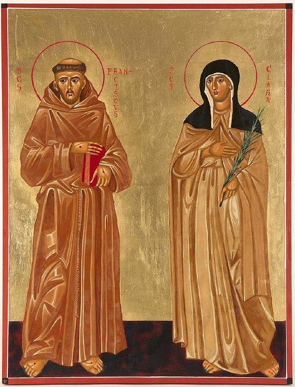 Icons Print featuring the painting St. Francis Of Assisi And St. Clare by Joseph Malham