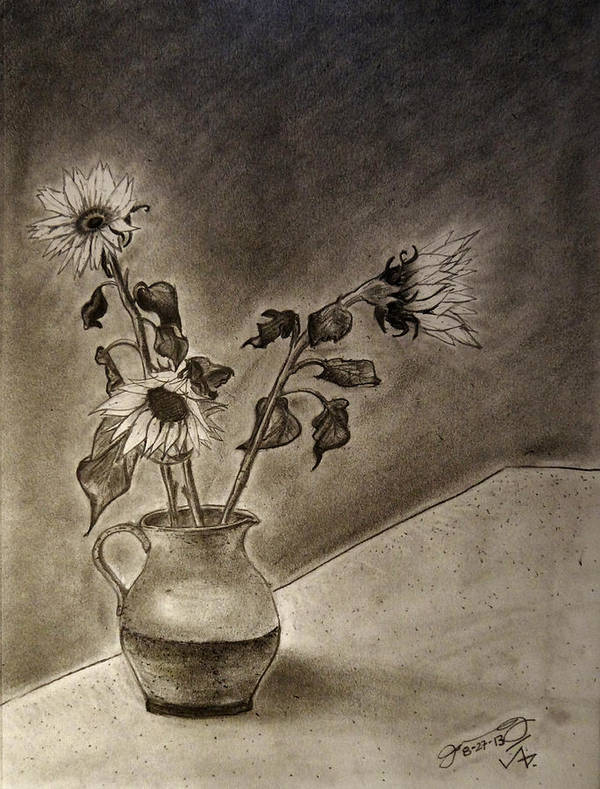 Still Life Art Print featuring the drawing Still Life Ceramic Pitcher With Three Sunflowers by Jose A Gonzalez Jr