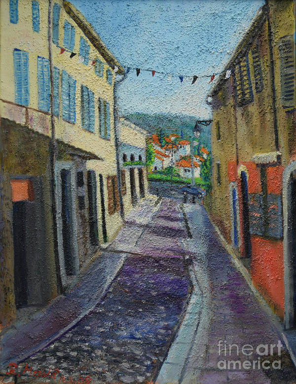 Raija Merila Art Print featuring the painting Street View From Provence by Raija Merila