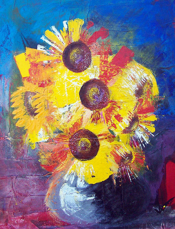 Flowers Art Print featuring the painting Sunflowers In Blue Vase by Valerie Wolf