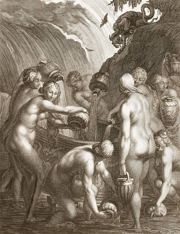 Classical Art Print featuring the drawing The Danaids Condemned To Fill Bored by Bernard Picart