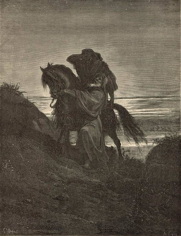 Biblical Art Print featuring the drawing The Good Samaritan by Antique Engravings