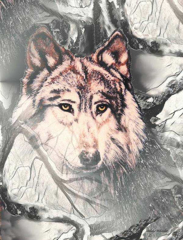 Wolf Art Print featuring the digital art The Lair by Melodye Whitaker