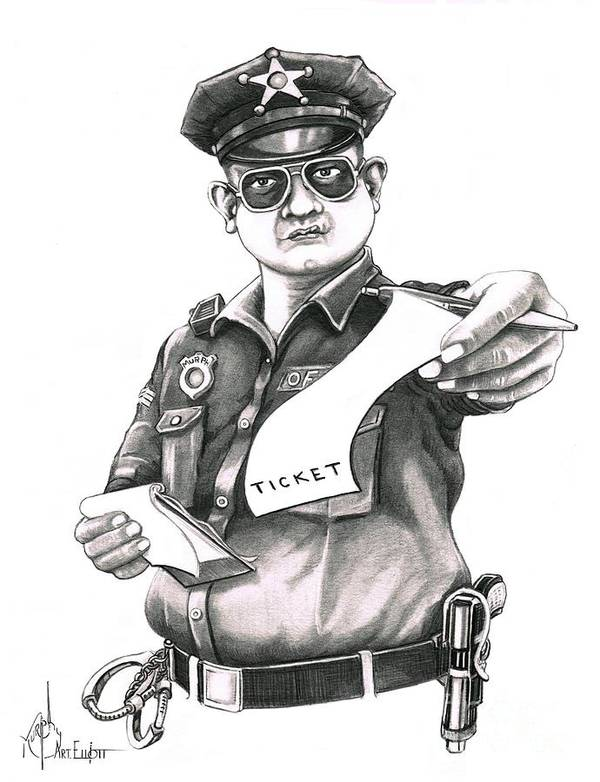 Pencil Art Print featuring the drawing The Law by Murphy Elliott