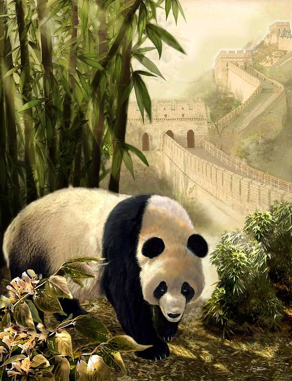 The Panda Bear And The Great Wall Of China Art Print by Regina Femrite