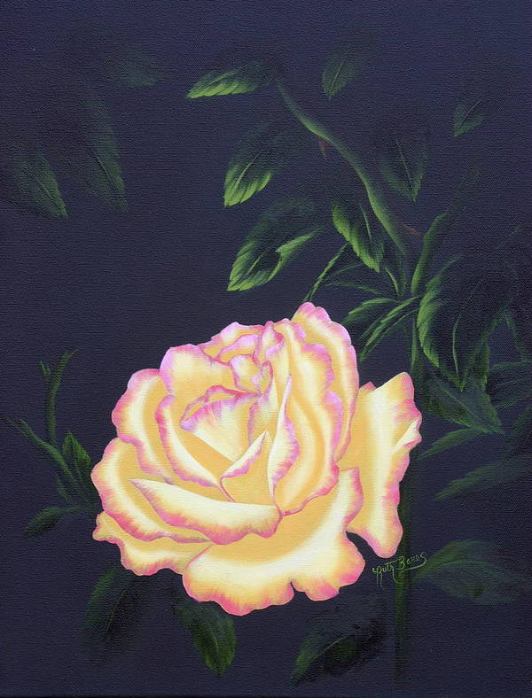 Rose Art Print featuring the painting The Rose by Ruth Bares