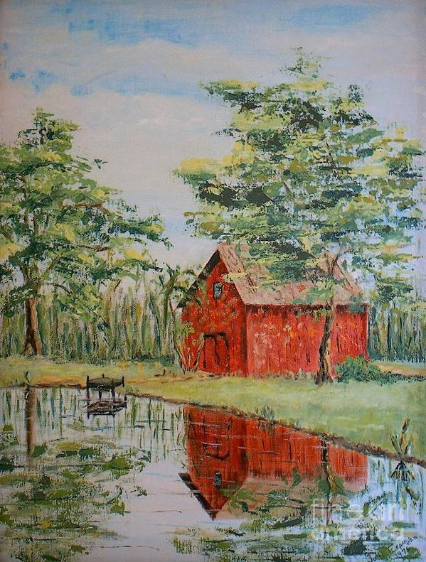 Red Shed Building Print featuring the painting The Shed - Sold by Judith Espinoza