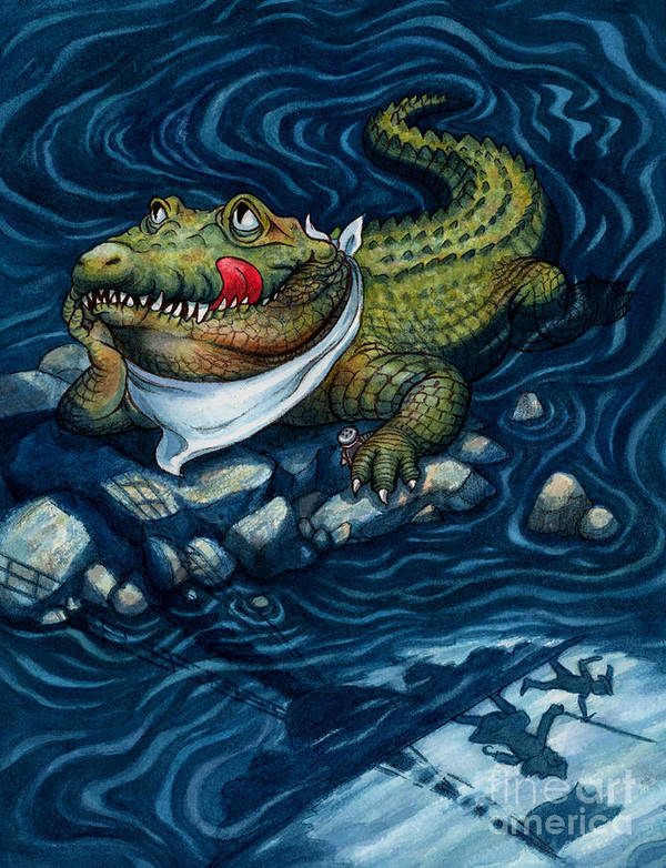 Crocodile Art Print featuring the painting Tick-tock Crocodile by Isabella Kung