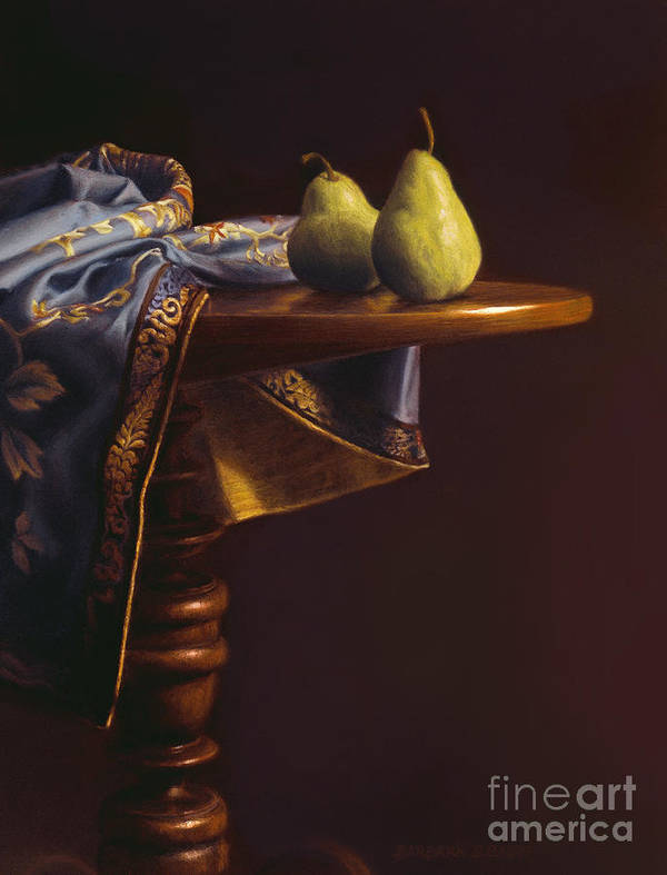 Still Life Art Print featuring the painting Two Bartletts On A Tilt-top Table by Barbara Groff