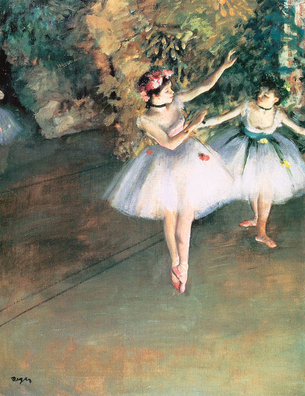 Two Dancers On A Stage Art Print featuring the painting Two Dancers On A Stage by Edgar Degas