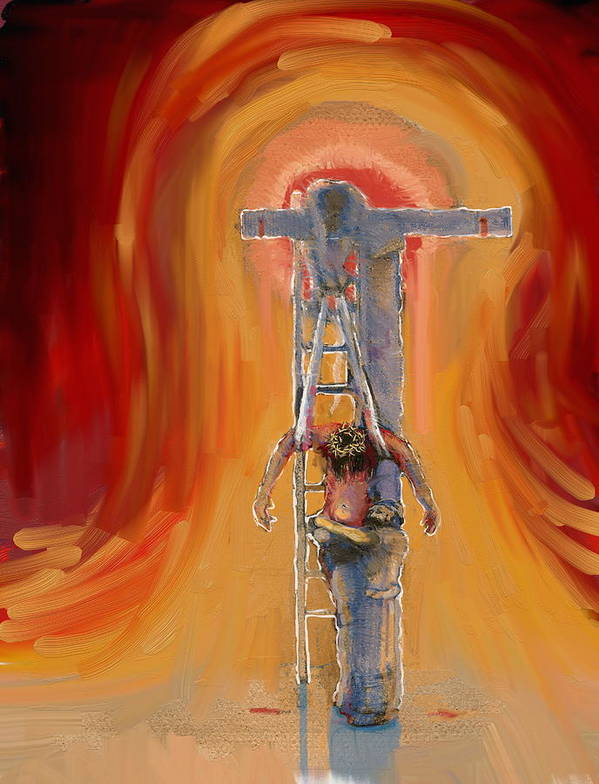 Crucifixion Art Print featuring the painting Weeping by Daniel Bonnell