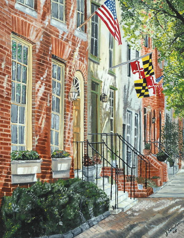 Baltimore Art Print featuring the painting William Street Summer by John Schuller