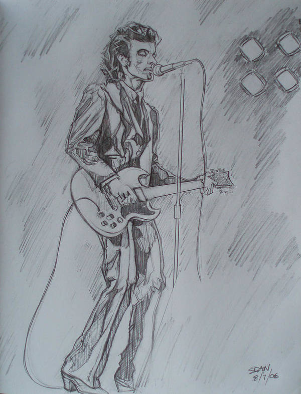 Pencil Art Print featuring the drawing Willy Deville - Steady Drivin' Man by Sean Connolly