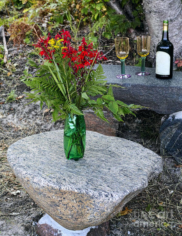 Red Art Print featuring the photograph Wine And Red Flowers On The Rocks by Les Palenik