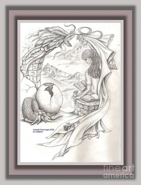 Sketch Art Print featuring the drawing Wisdom In The Valley by Rosie R Carrillo