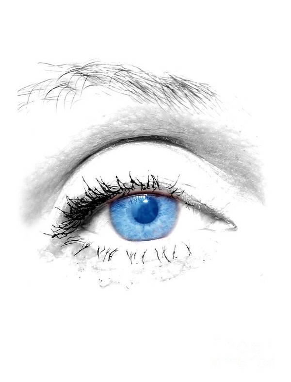 Art Art Print featuring the photograph Woman Blue Eye by Michal Bednarek
