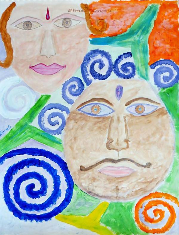 Expresion Art Print featuring the painting Faces by Sonali Gangane