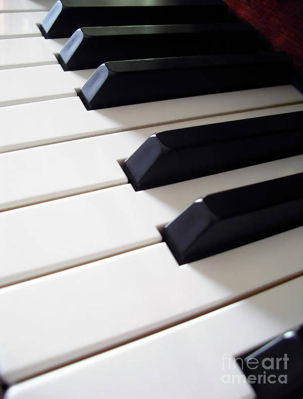 Acoustic Art Print featuring the photograph Piano Keys by Carlos Caetano
