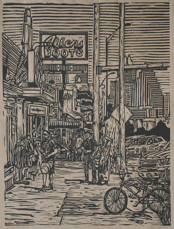 Austin Print featuring the drawing South Congress by William Cauthern