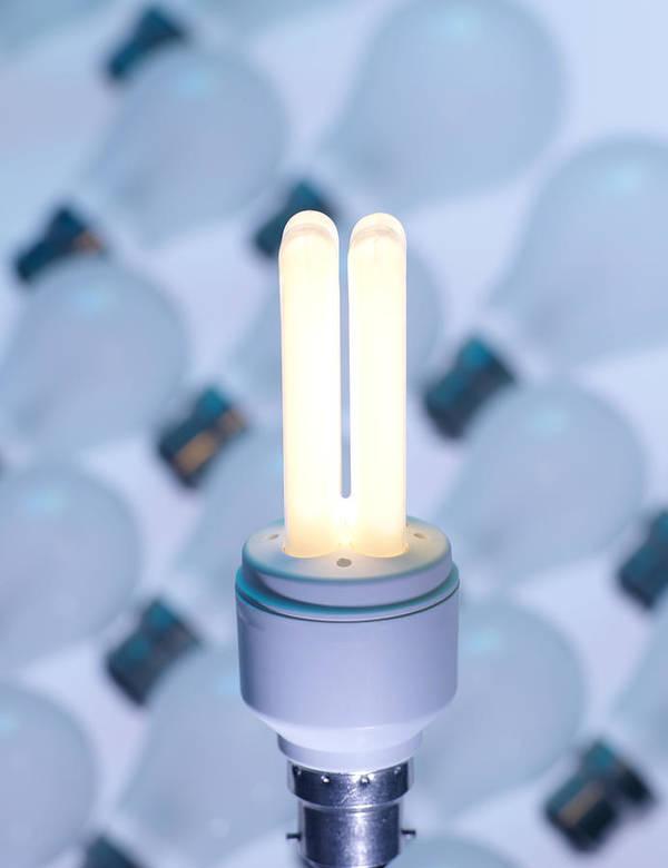 Light Bulb Print featuring the photograph Energy-saving Light Bulb by Tek Image