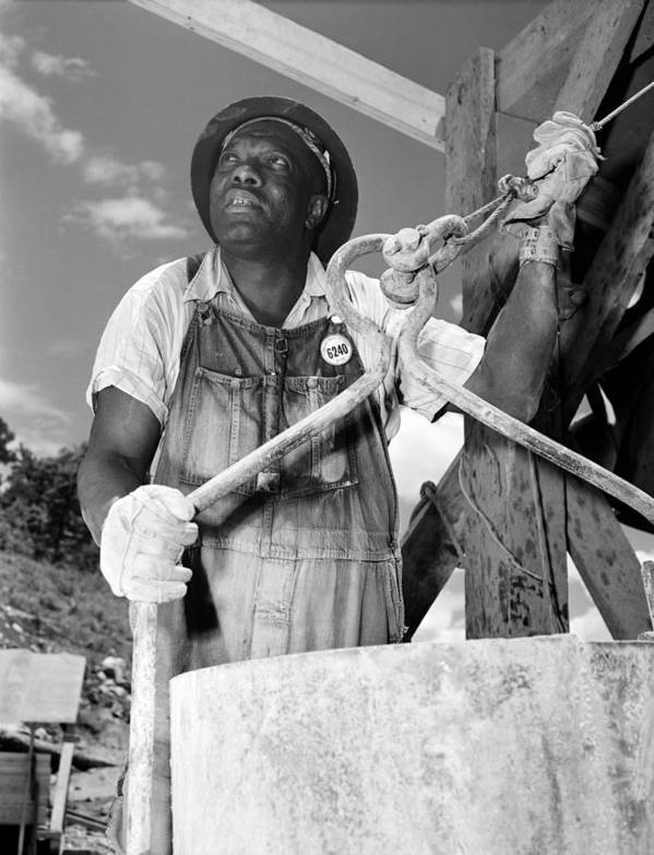 History Art Print featuring the photograph African American Construction Worker by Everett