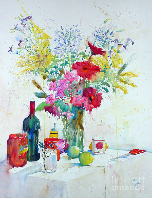 Watercolor Art Print featuring the painting Azaleas And Agapanthes by Andre MEHU