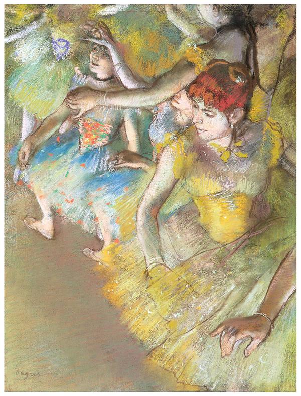 Ballet Dancers On The Stage Art Print featuring the pastel Ballet Dancers On The Stage by Edgar Degas