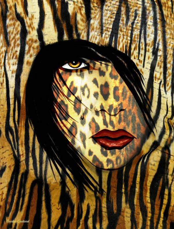 Animal Print Art Print featuring the painting Cat Woman 2 by Barbie Guitard