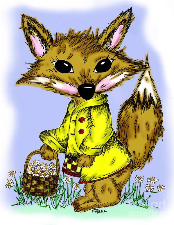 Fox Art Print featuring the drawing Felix Fox by Tammy Talerico