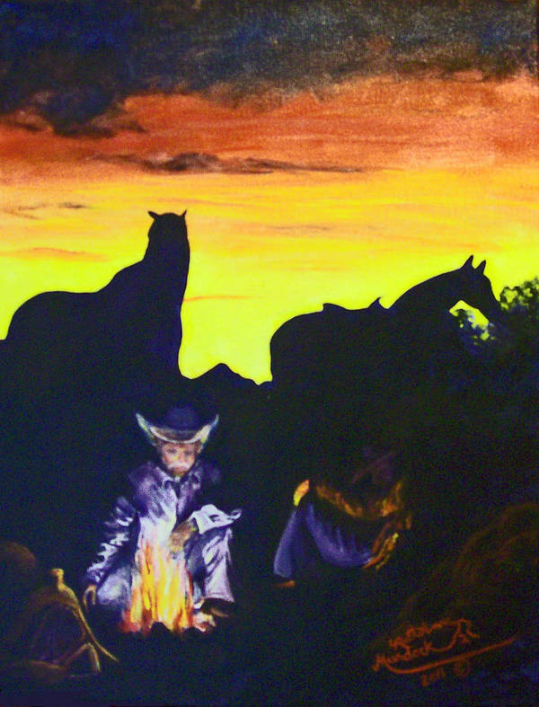 Western Art Print featuring the painting Fireside Hypnotism by Ruth Ann Murdock