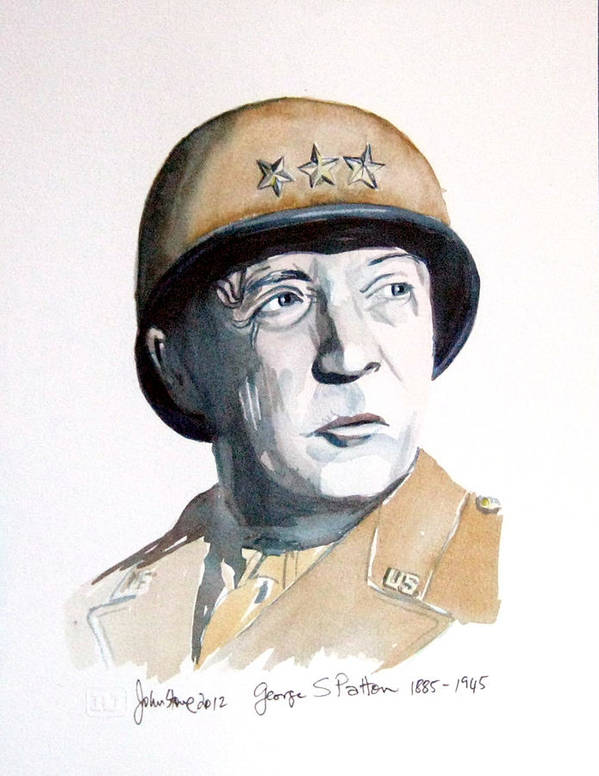 Watercolour Art Print featuring the painting George S Patton by Ray Johnstone