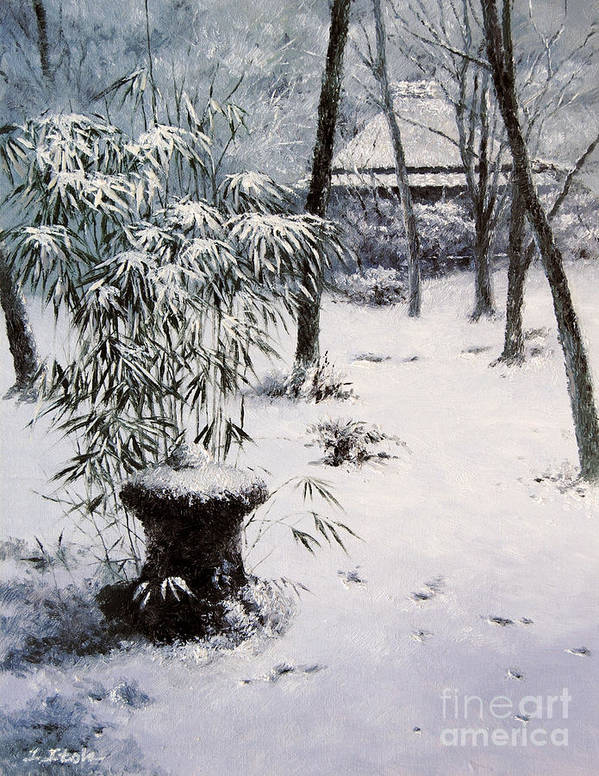 Japanese Temple Art Print featuring the painting Gioji Temple In Snowing by Isao Ito