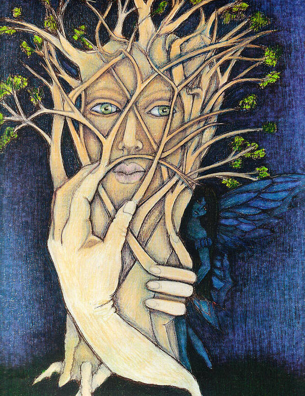 Treeart Art Print featuring the mixed media Hazeltree by Kerri Saylors Higgins