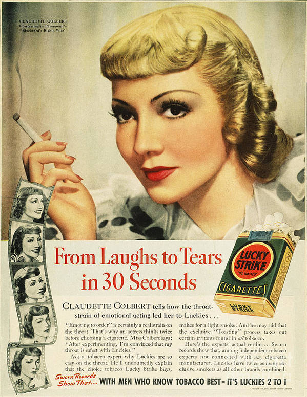 1938 Art Print featuring the photograph Luckys Cigarette Ad, 1938 by Granger