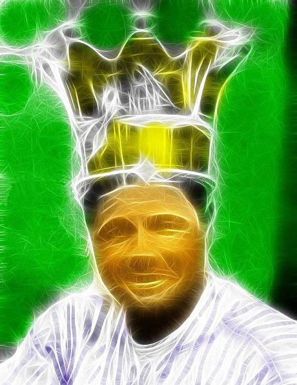 Babe Ruth Art Print featuring the painting Magical Babe Ruth by Paul Van Scott