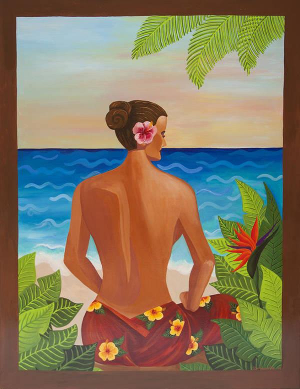 Woman On The Beach Art Print featuring the painting Meditation by Ana Bondarenko