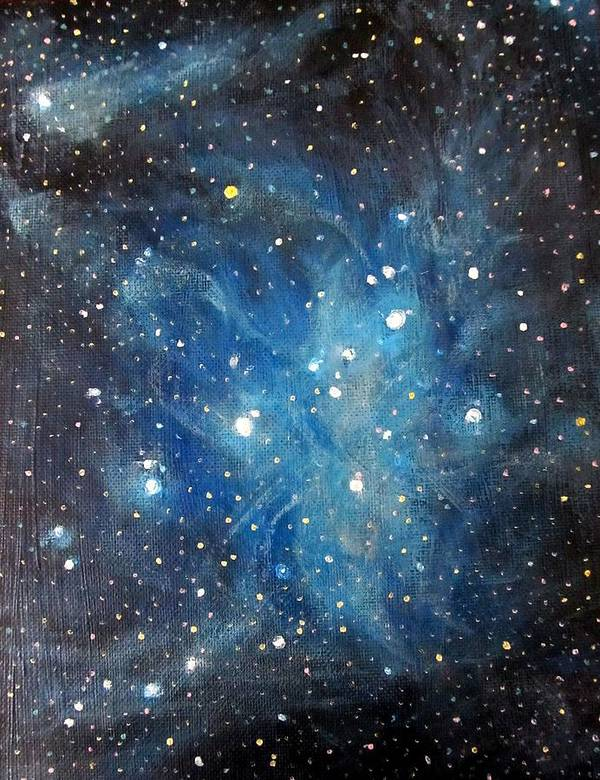 Space Art Print featuring the painting Messier 45 Pleiades Constellation by Alizey Khan