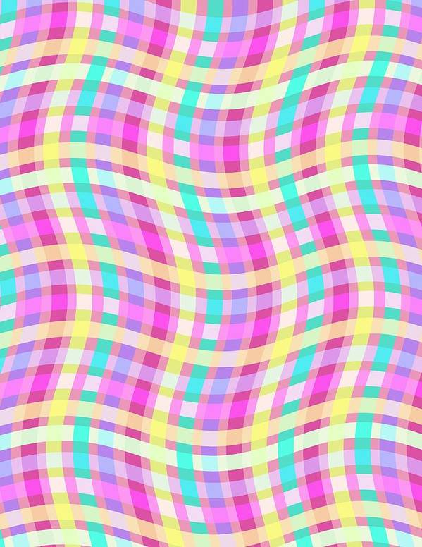 Multi Check Print featuring the digital art Multi Check by Louisa Knight