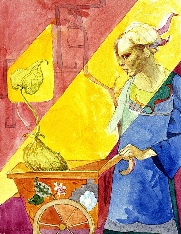 Women Art Print featuring the painting Origins 2 by Ellen Dreibelbis
