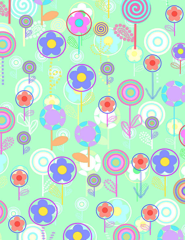Louisa Art Print featuring the digital art Overlayer Flowers by Louisa Knight