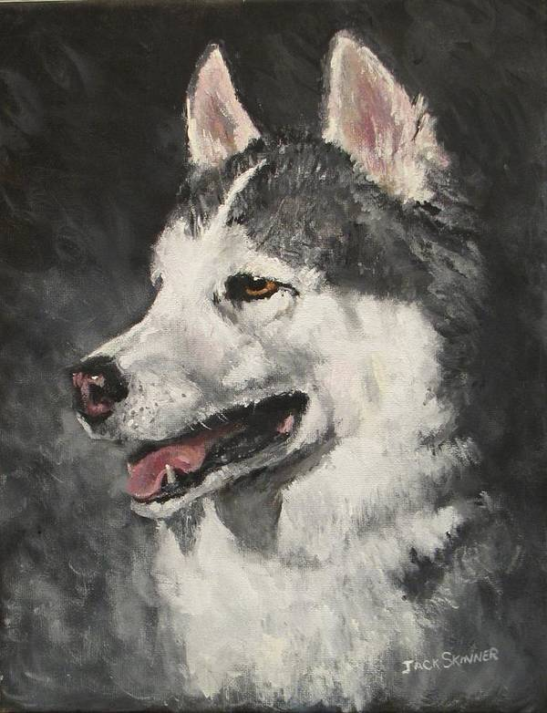 Dog Art Print featuring the painting Ozzie by Jack Skinner