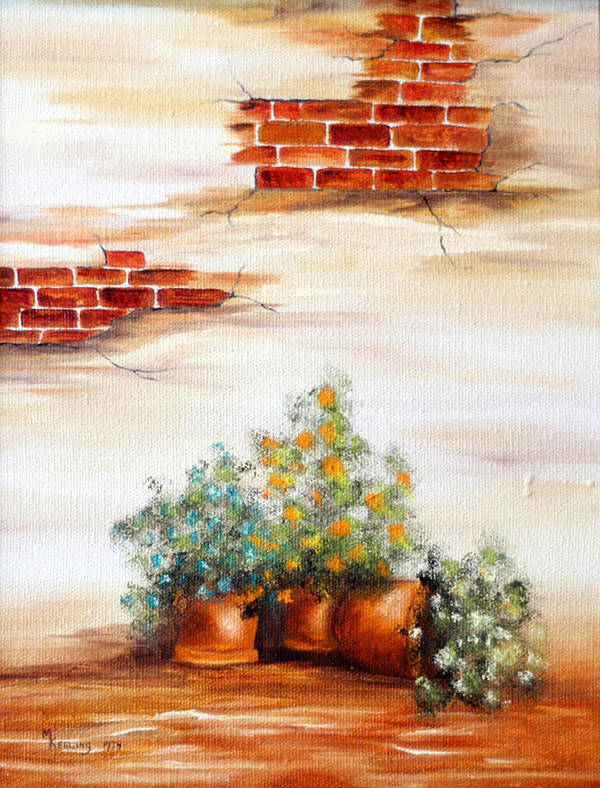 Oil Art Print featuring the painting Potted Flowers by Meg Keeling