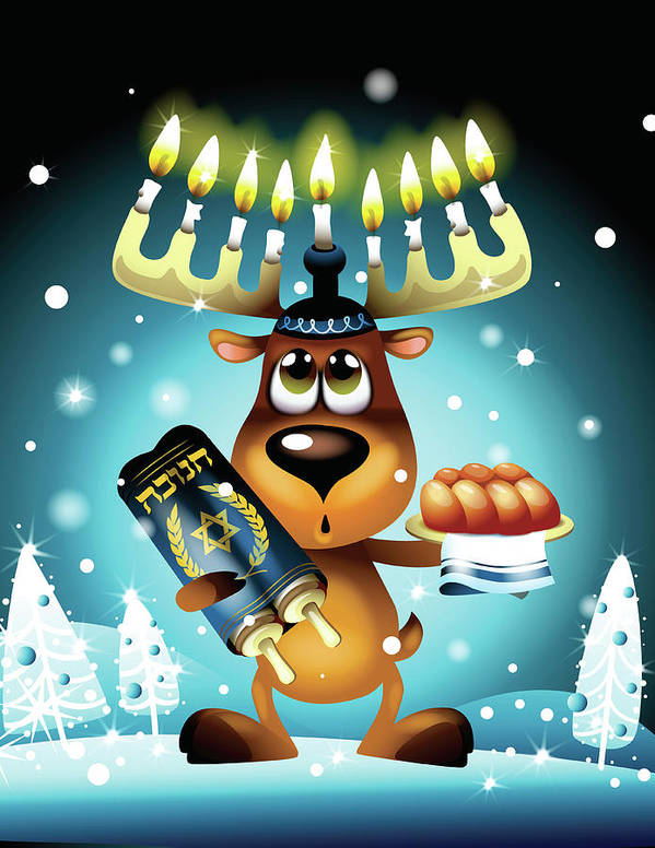 Vertical Art Print featuring the digital art Reindeer With Menorah For Antlers by New Vision Technologies Inc