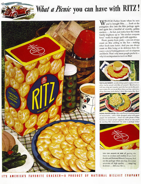 1940 Art Print featuring the photograph Ritz Crackers Ad, 1940 by Granger