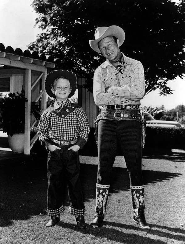 1950s Art Print featuring the photograph Roy Dusty Rogers Jr., And His Father by Everett