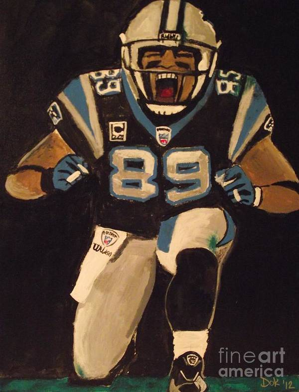 Nfl Football Steve Smith Carolina Panthers Sports Art Print featuring the painting Scream by Simon Hardesty