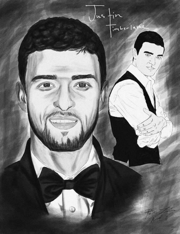 Secret Agent Justin Timberlake Art Print featuring the drawing Secret Agent Justin Timberlake by Kenal Louis
